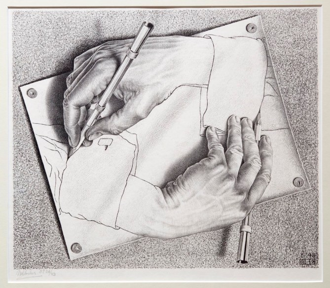 "Maurits Cornelis Escher, ""Drawing Hands,"" 1948. (Robin Lubbock/WBUR)"